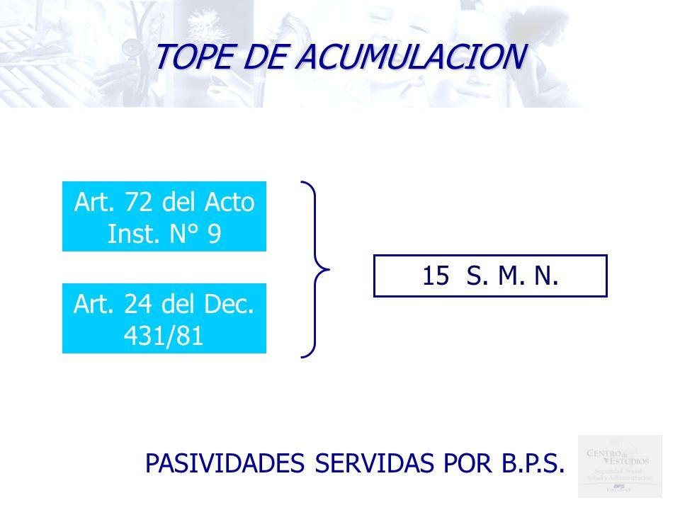 PASIVIDADES SERVIDAS POR B.P.S. TOPE DE ACUMULACION Art. 72 del Acto Inst. N° 9 Art. 24 del Dec. 431/81 15 S. M. N.