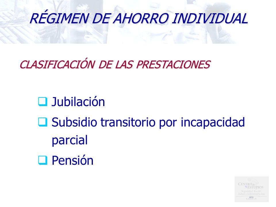 RÉGIMEN DE AHORRO INDIVIDUAL Jubilación Subsidio transitorio por incapacidad parcial Pensión CLASIFICACIÓN DE LAS PRESTACIONES