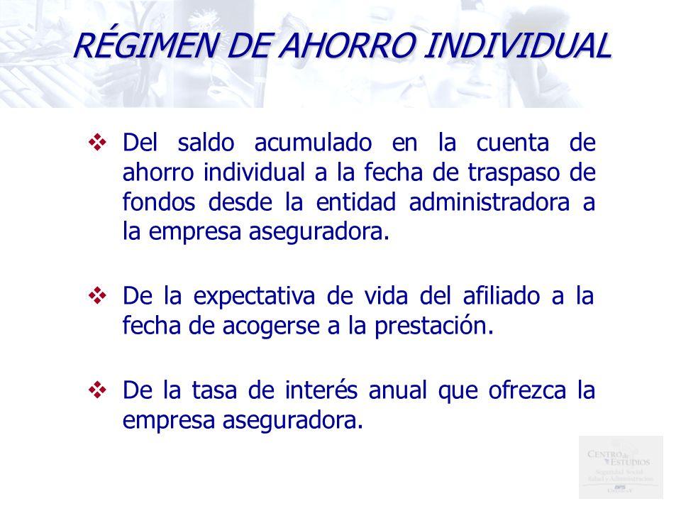 Del saldo acumulado en la cuenta de ahorro individual a la fecha de traspaso de fondos desde la entidad administradora a la empresa aseguradora.