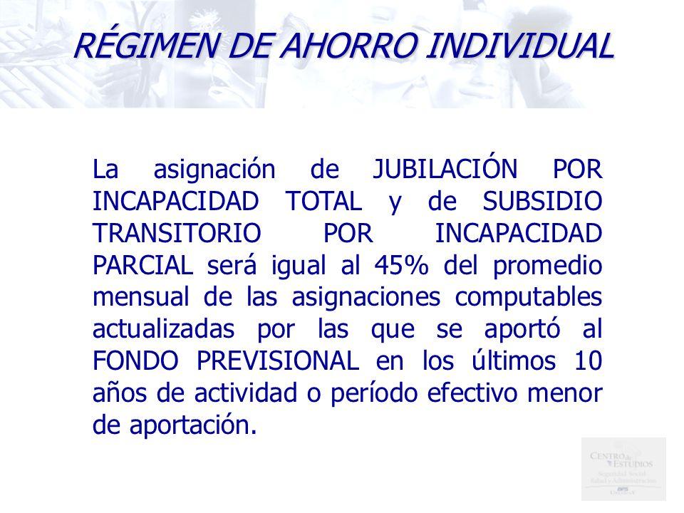 La asignación de JUBILACIÓN POR INCAPACIDAD TOTAL y de SUBSIDIO TRANSITORIO POR INCAPACIDAD PARCIAL será igual al 45% del promedio mensual de las asignaciones computables actualizadas por las que se aportó al FONDO PREVISIONAL en los últimos 10 años de actividad o período efectivo menor de aportación.