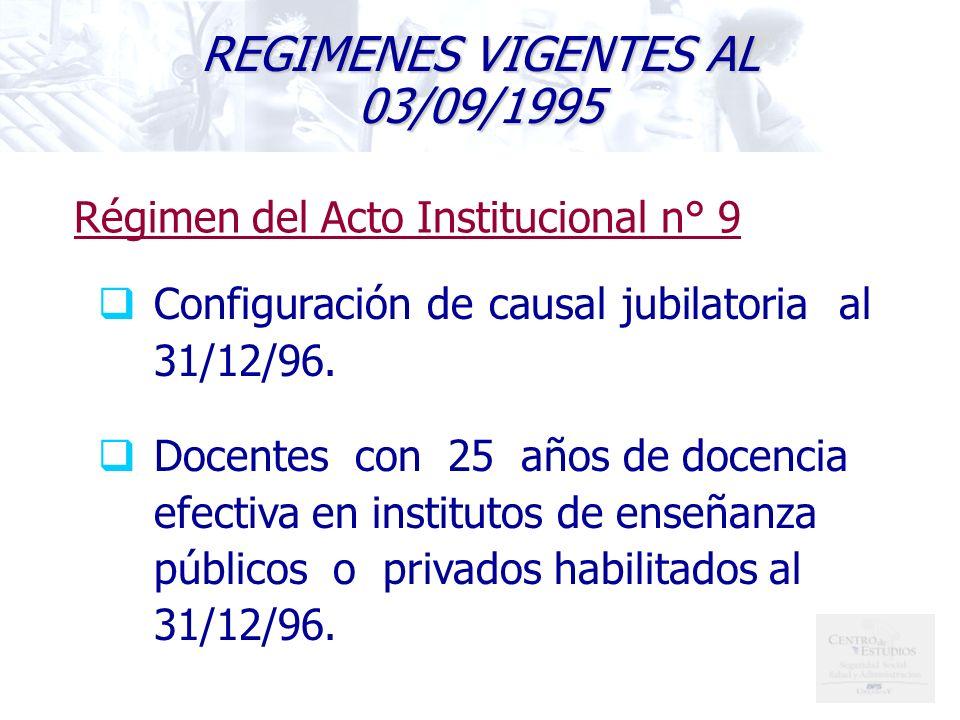 REGIMENES VIGENTES AL 03/09/1995 Configuración de causal jubilatoria al 31/12/96.