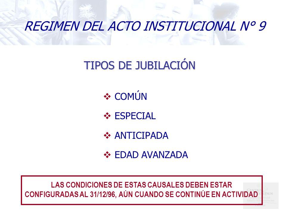 TIPOS DE JUBILACIÓN COMÚN ESPECIAL ANTICIPADA EDAD AVANZADA LAS CONDICIONES DE ESTAS CAUSALES DEBEN ESTAR CONFIGURADAS AL 31/12/96, AÚN CUANDO SE CONTINÚE EN ACTIVIDAD REGIMEN DEL ACTO INSTITUCIONAL N° 9