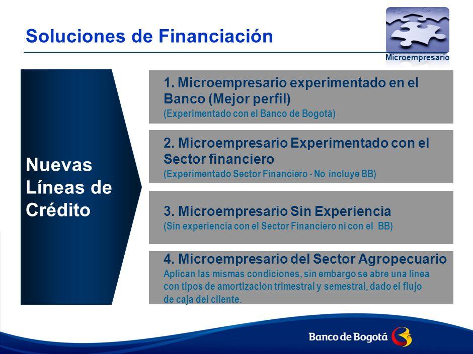 Soluciones de Financiación Microempresario 1.Microempresario experimentado en el Banco (Mejor perfil) (Experimentado con el Banco de Bogotá) 2.