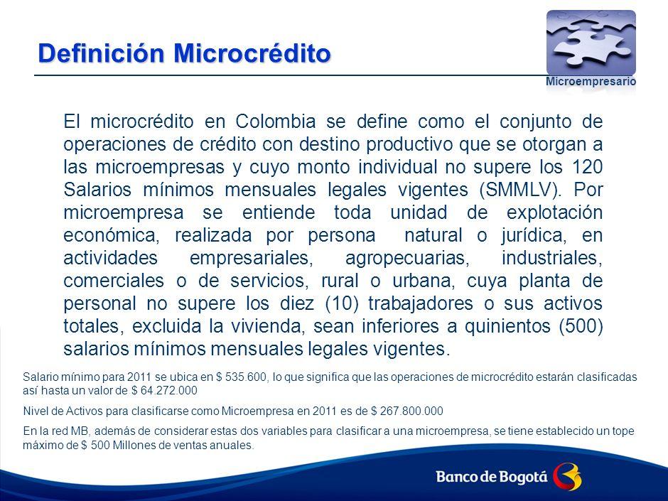 Definición Microcrédito Microempresario El microcrédito en Colombia se define como el conjunto de operaciones de crédito con destino productivo que se otorgan a las microempresas y cuyo monto individual no supere los 120 Salarios mínimos mensuales legales vigentes (SMMLV).