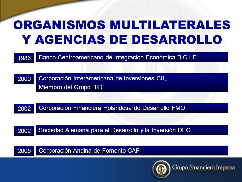 ORGANISMOS MULTILATERALES Y AGENCIAS DE DESARROLLO Banco Centroamericano de Integración Económica B.C.I.E.