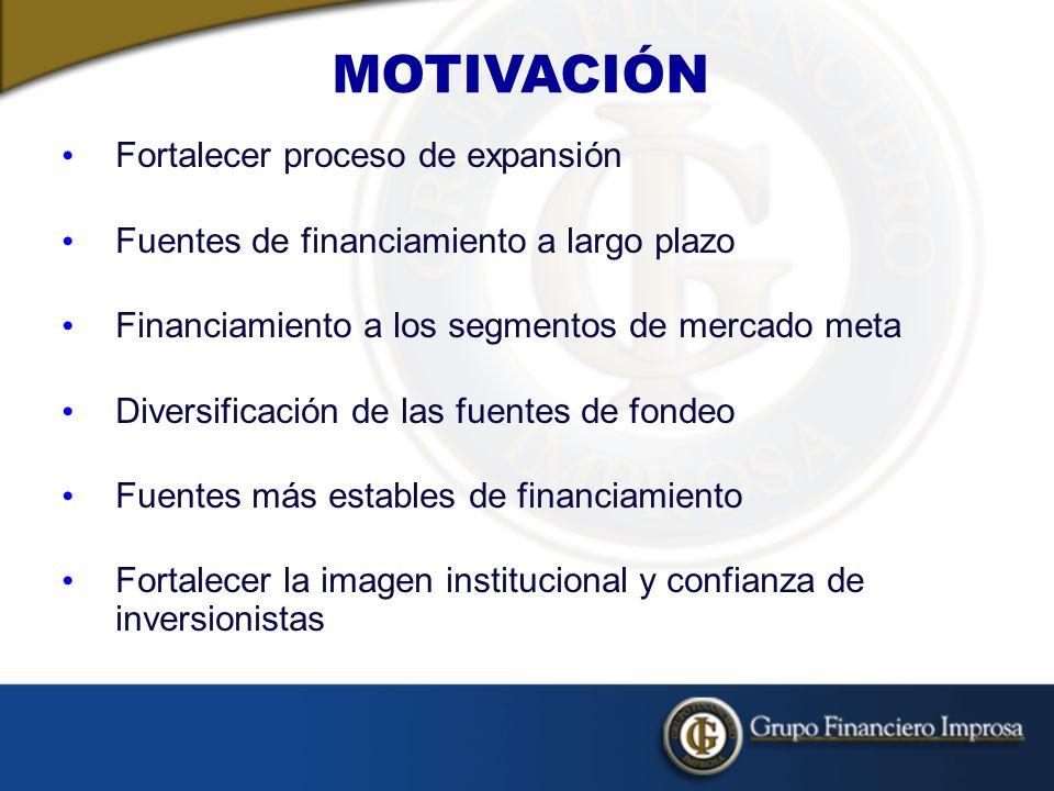 MOTIVACIÓN Fortalecer proceso de expansión Fuentes de financiamiento a largo plazo Financiamiento a los segmentos de mercado meta Diversificación de las fuentes de fondeo Fuentes más estables de financiamiento Fortalecer la imagen institucional y confianza de inversionistas