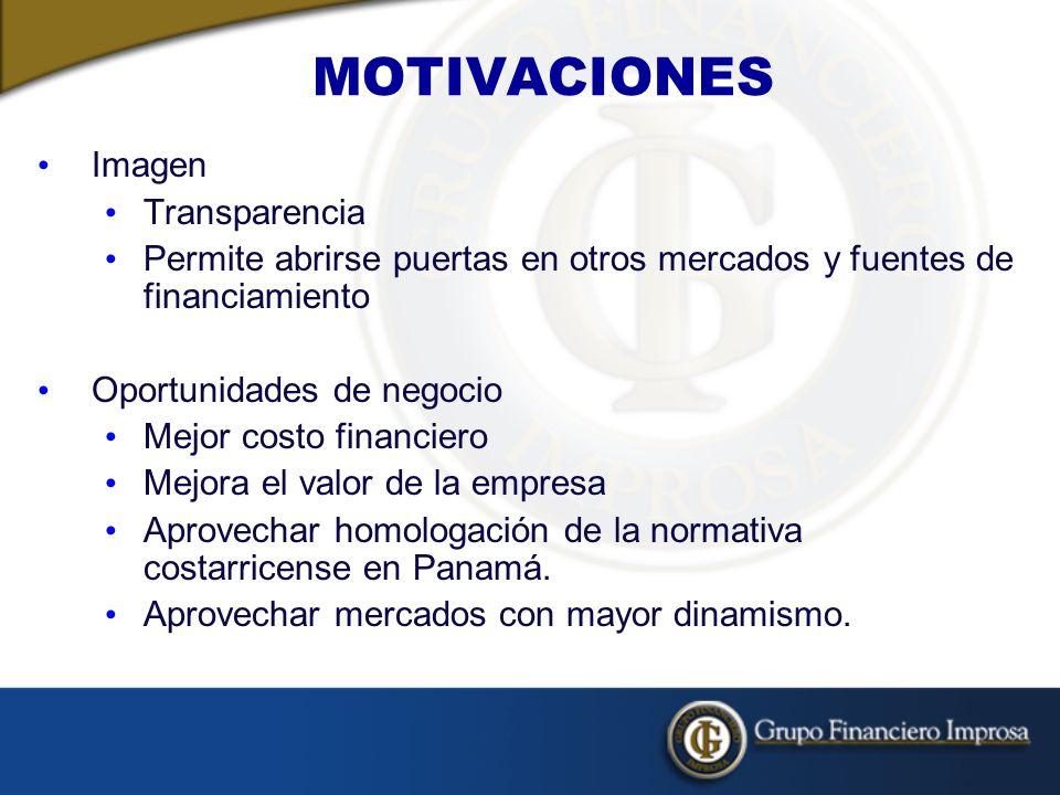 Imagen Transparencia Permite abrirse puertas en otros mercados y fuentes de financiamiento Oportunidades de negocio Mejor costo financiero Mejora el valor de la empresa Aprovechar homologación de la normativa costarricense en Panamá.