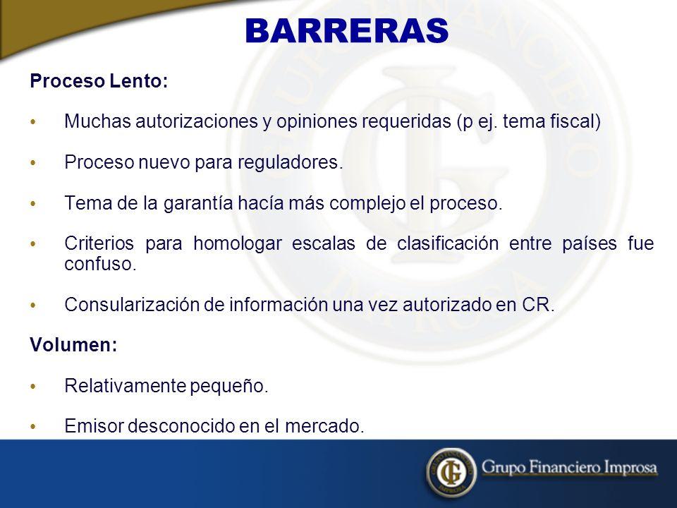 BARRERAS Proceso Lento: Muchas autorizaciones y opiniones requeridas (p ej.