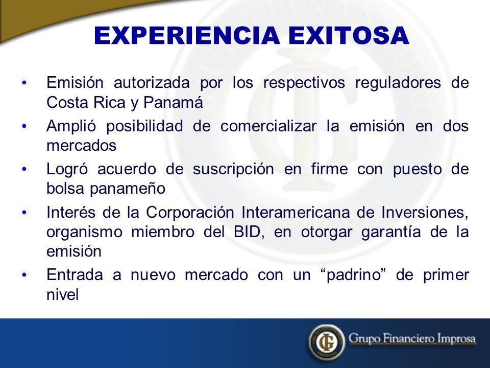 EXPERIENCIA EXITOSA Emisión autorizada por los respectivos reguladores de Costa Rica y Panamá Amplió posibilidad de comercializar la emisión en dos mercados Logró acuerdo de suscripción en firme con puesto de bolsa panameño Interés de la Corporación Interamericana de Inversiones, organismo miembro del BID, en otorgar garantía de la emisión Entrada a nuevo mercado con un padrino de primer nivel