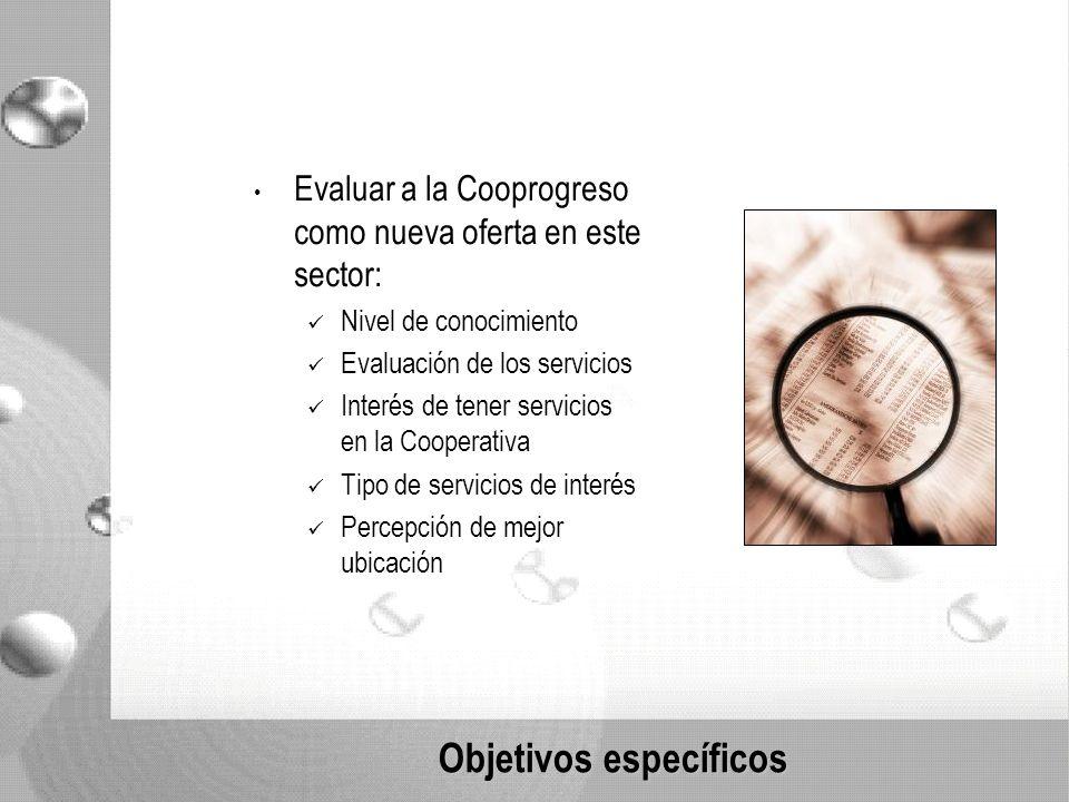 Objetivos específicos Evaluar a la Cooprogreso como nueva oferta en este sector: Nivel de conocimiento Evaluación de los servicios Interés de tener servicios en la Cooperativa Tipo de servicios de interés Percepción de mejor ubicación