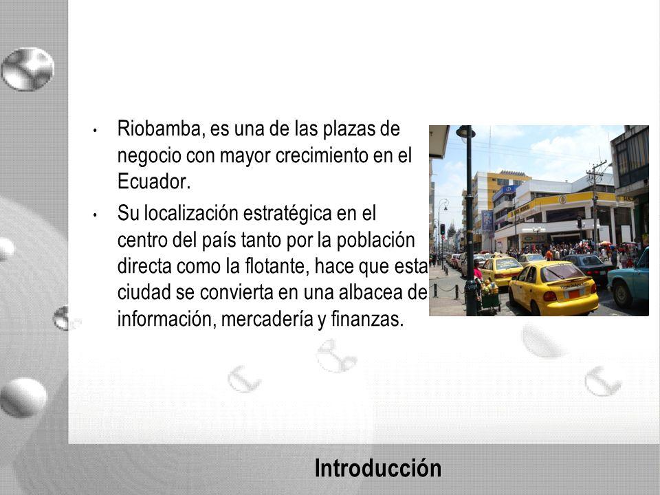 Introducción Riobamba, es una de las plazas de negocio con mayor crecimiento en el Ecuador.