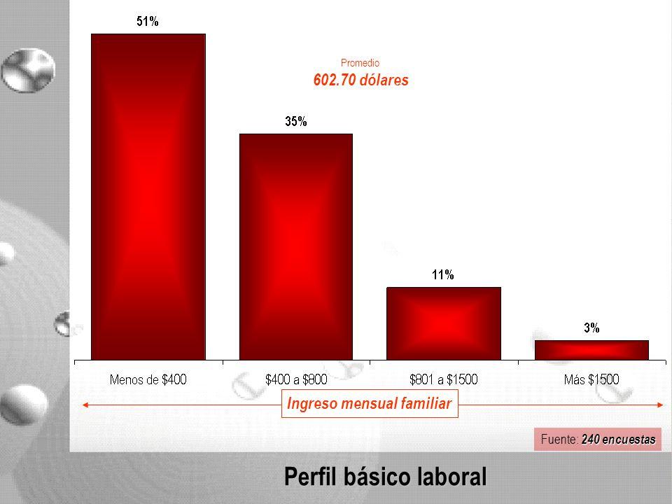 Perfil básico laboral Ingreso mensual familiar Promedio 602.70 dólares 240 encuestas Fuente: 240 encuestas