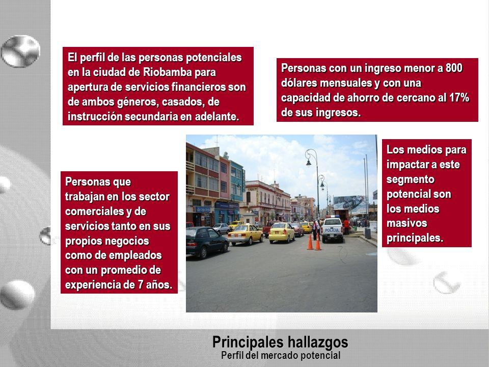 Principales hallazgos Perfil del mercado potencial El perfil de las personas potenciales en la ciudad de Riobamba para apertura de servicios financieros son de ambos géneros, casados, de instrucción secundaria en adelante.