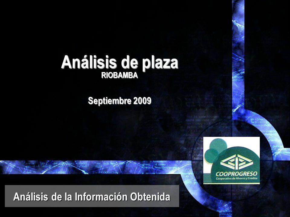 Análisis de plaza RIOBAMBA Septiembre 2009 Análisis de la Información Obtenida