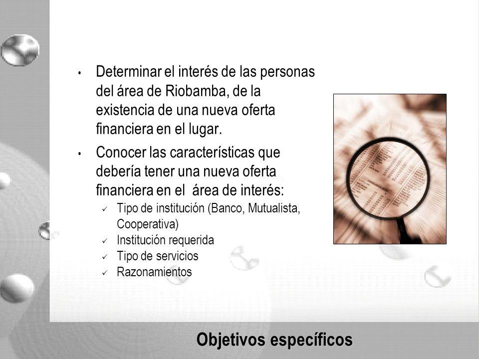 Objetivos específicos Determinar el interés de las personas del área de Riobamba, de la existencia de una nueva oferta financiera en el lugar.