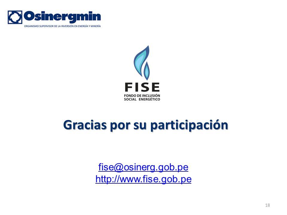 18 Gracias por su participación fise@osinerg.gob.pe http://www.fise.gob.pe