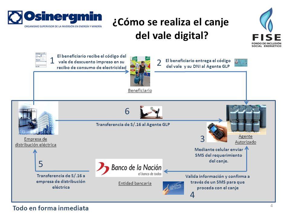 ¿Cómo se realiza el canje del vale digital? Agente Autorizado Entidad bancaria Beneficiario Empresa de distribución eléctrica El beneficiario entrega