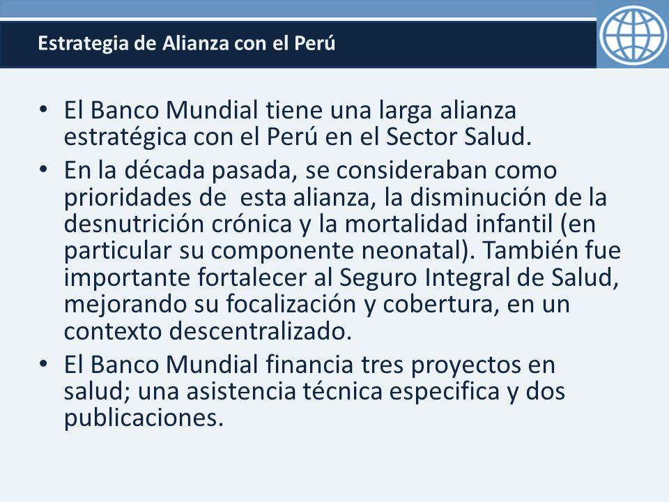 Estrategia de Alianza con el Perú El Banco Mundial tiene una larga alianza estratégica con el Perú en el Sector Salud.
