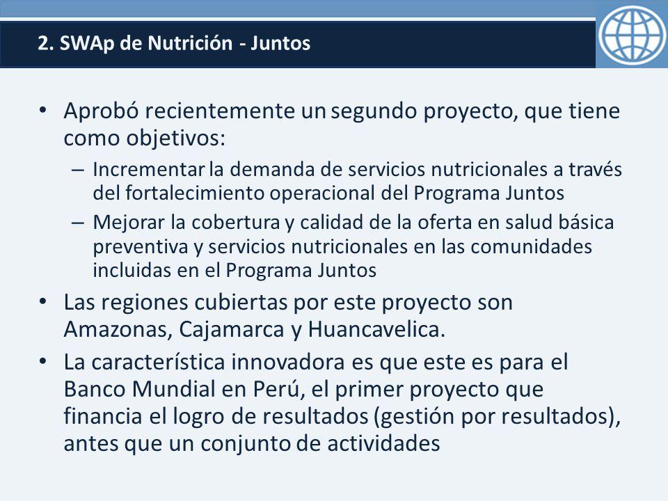 2. SWAp de Nutrición - Juntos Aprobó recientemente un segundo proyecto, que tiene como objetivos: – Incrementar la demanda de servicios nutricionales