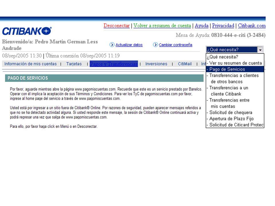 1 1 El Usuario, desde su sede, ordena telemáticamente en el web site de su Banco (Receptor) el pago de servicios. 3 3 Medainte su red, el Tercero Tele