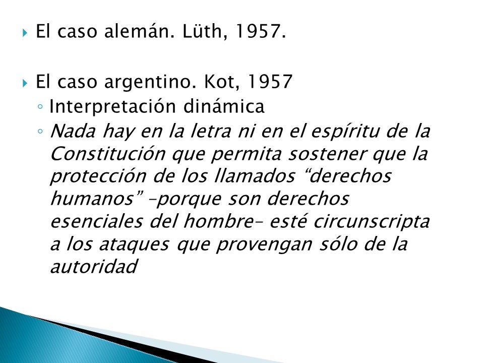 El caso alemán. Lüth, 1957. El caso argentino.