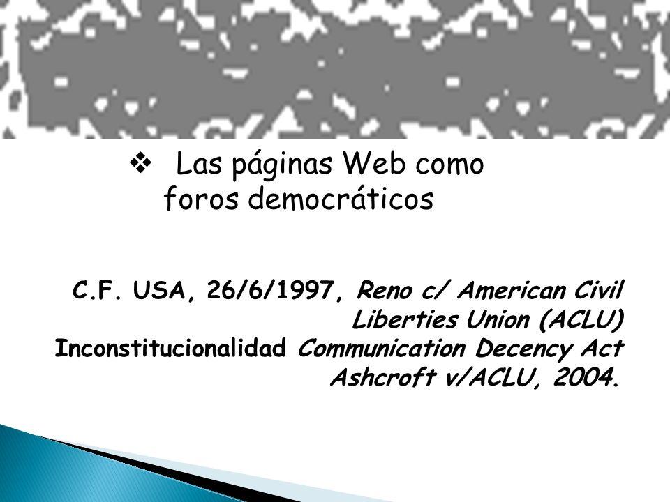 Las páginas Web como foros democráticos C.F.