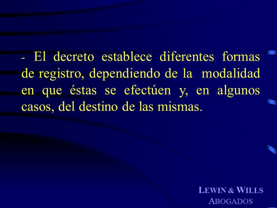 L EWIN & W ILLS A BOGADOS - El decreto establece diferentes formas de registro, dependiendo de la modalidad en que éstas se efectúen y, en algunos cas