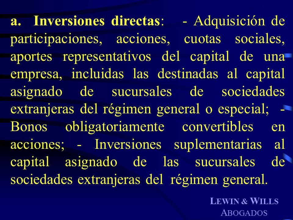 L EWIN & W ILLS A BOGADOS a. Inversiones directas: - Adquisición de participaciones, acciones, cuotas sociales, aportes representativos del capital de