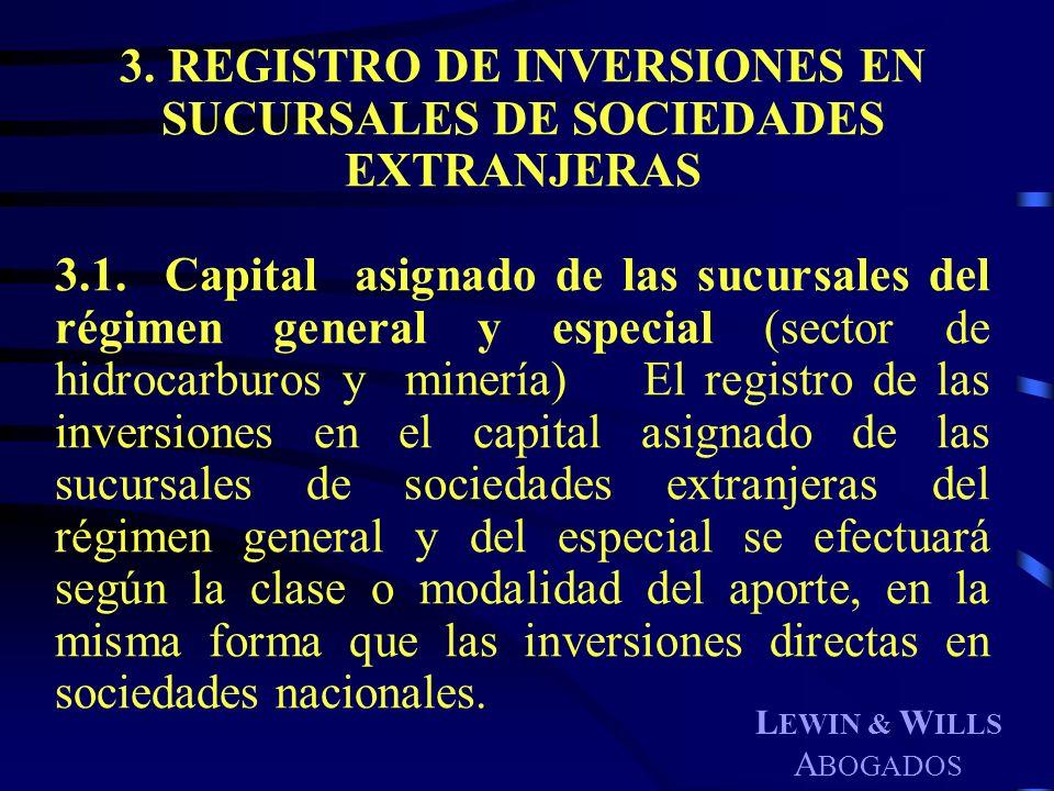 L EWIN & W ILLS A BOGADOS 3. REGISTRO DE INVERSIONES EN SUCURSALES DE SOCIEDADES EXTRANJERAS 3.1. Capital asignado de las sucursales del régimen gener