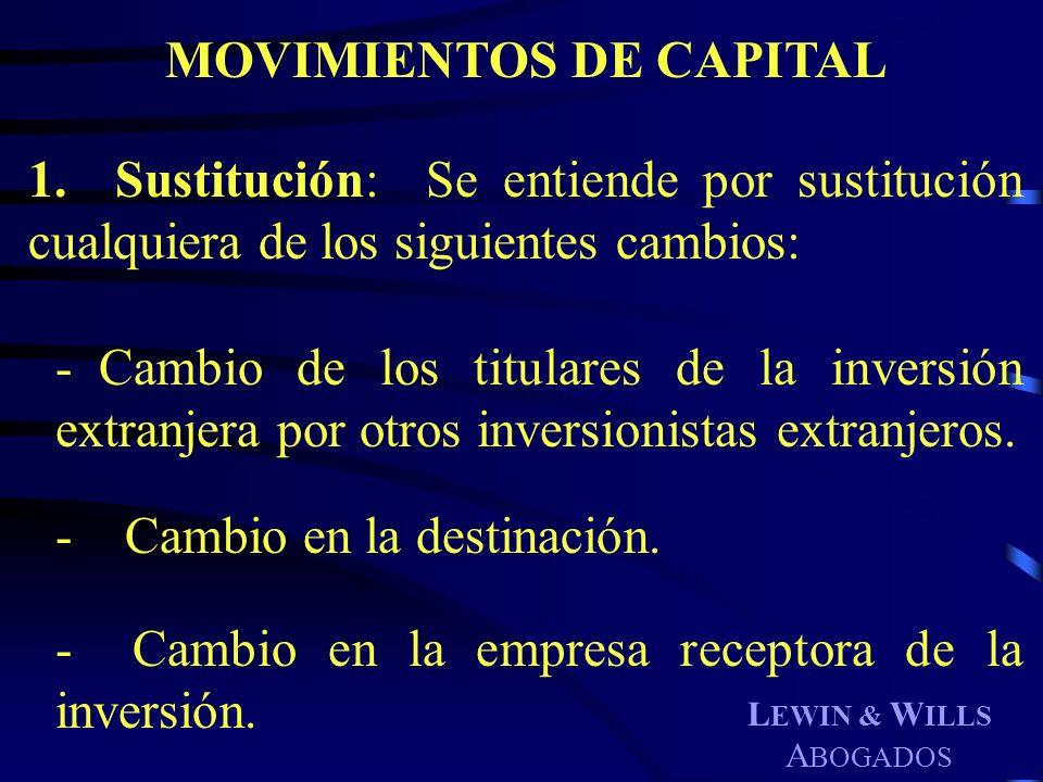 L EWIN & W ILLS A BOGADOS MOVIMIENTOS DE CAPITAL 1. Sustitución: Se entiende por sustitución cualquiera de los siguientes cambios: - Cambio de los tit