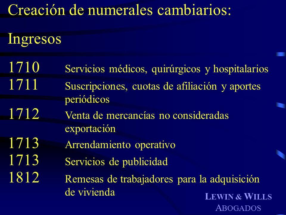 L EWIN & W ILLS A BOGADOS Creación de numerales cambiarios: Ingresos 1710 Servicios médicos, quirúrgicos y hospitalarios 1711 Suscripciones, cuotas de