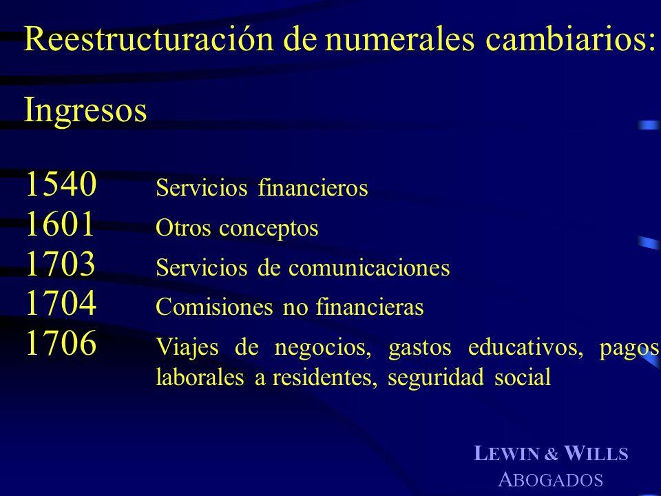 L EWIN & W ILLS A BOGADOS Reestructuración de numerales cambiarios: Ingresos 1540 Servicios financieros 1601 Otros conceptos 1703 Servicios de comunic