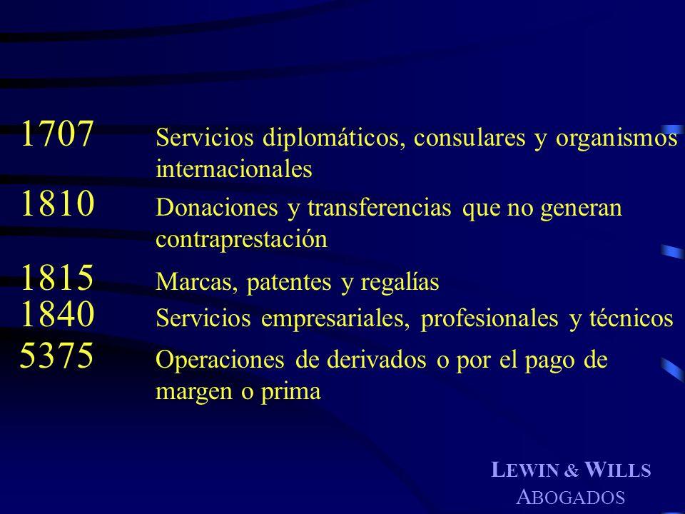 L EWIN & W ILLS A BOGADOS 1707 Servicios diplomáticos, consulares y organismos internacionales 1810 Donaciones y transferencias que no generan contrap