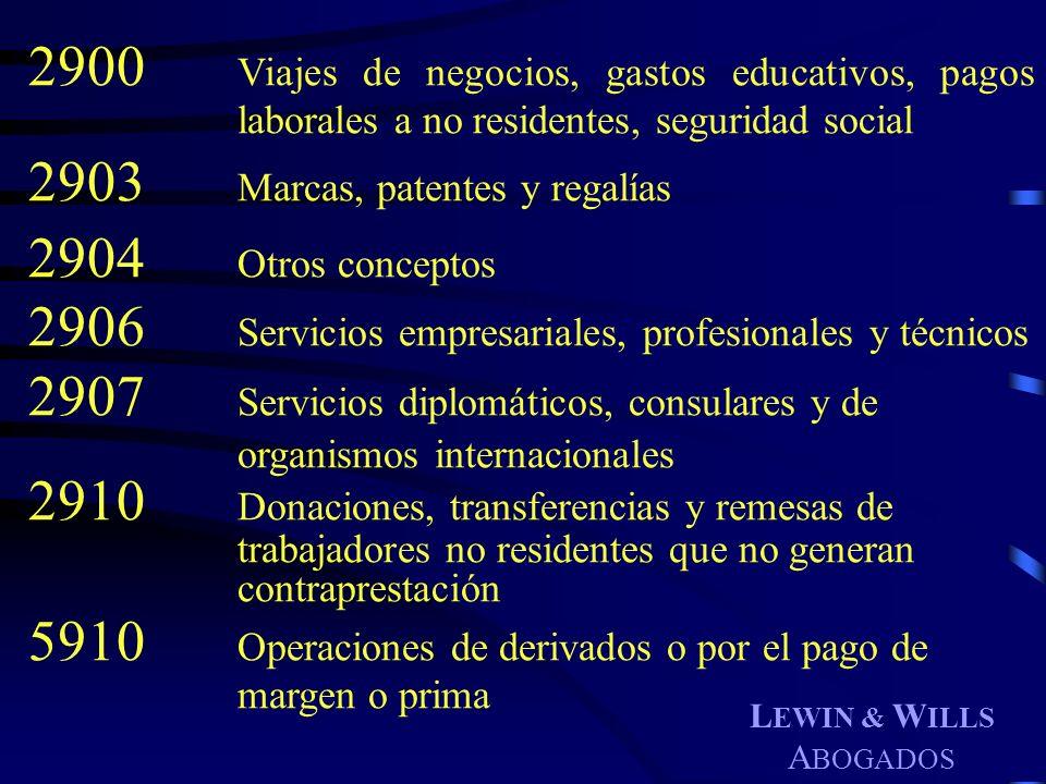 L EWIN & W ILLS A BOGADOS 2900 Viajes de negocios, gastos educativos, pagos laborales a no residentes, seguridad social 2903 Marcas, patentes y regalí