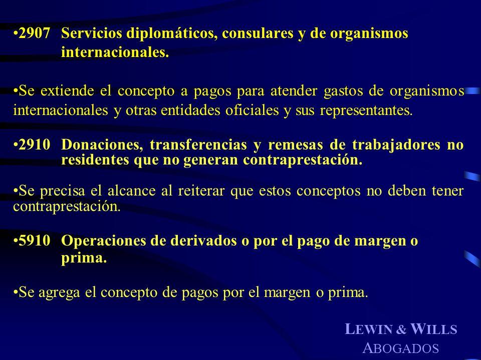 L EWIN & W ILLS A BOGADOS 2907Servicios diplomáticos, consulares y de organismos internacionales. Se extiende el concepto a pagos para atender gastos