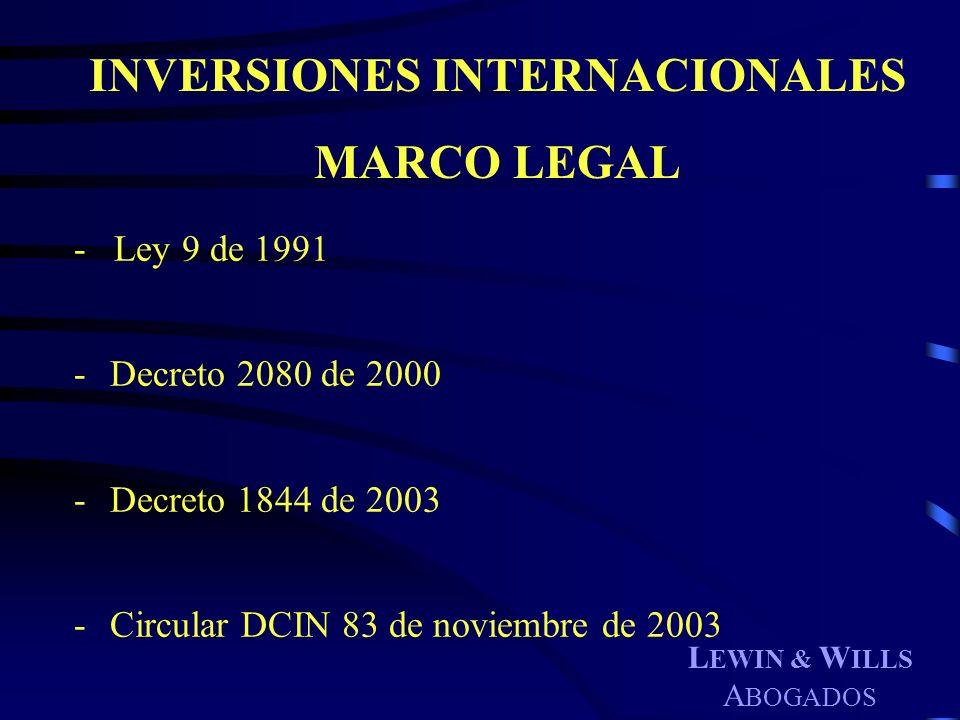 L EWIN & W ILLS A BOGADOS - Ley 9 de 1991 -Decreto 2080 de 2000 -Decreto 1844 de 2003 -Circular DCIN 83 de noviembre de 2003 INVERSIONES INTERNACIONAL