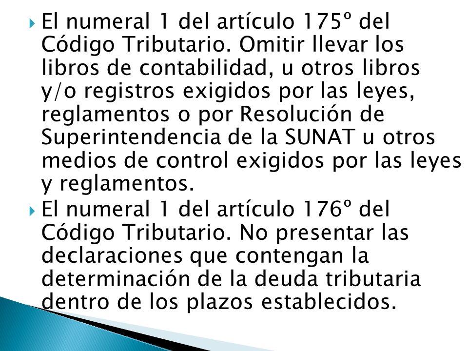 El numeral 1 del artículo 175º del Código Tributario. Omitir llevar los libros de contabilidad, u otros libros y/o registros exigidos por las leyes, r