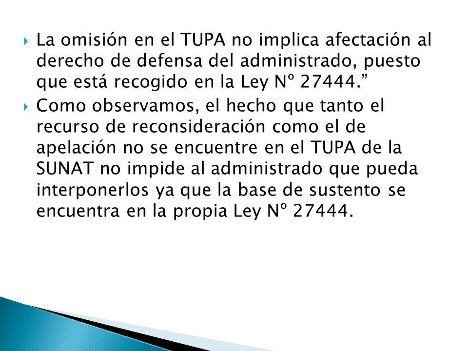 La omisión en el TUPA no implica afectación al derecho de defensa del administrado, puesto que está recogido en la Ley Nº 27444. Como observamos, el h