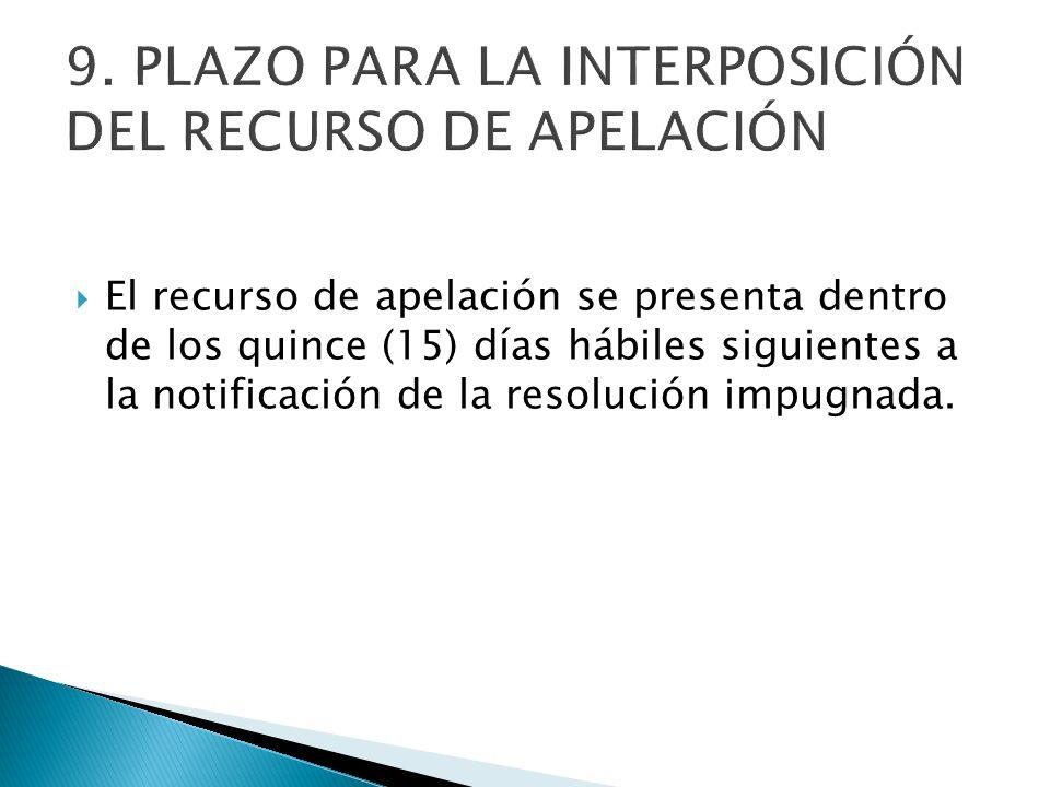 El recurso de apelación se presenta dentro de los quince (15) días hábiles siguientes a la notificación de la resolución impugnada.