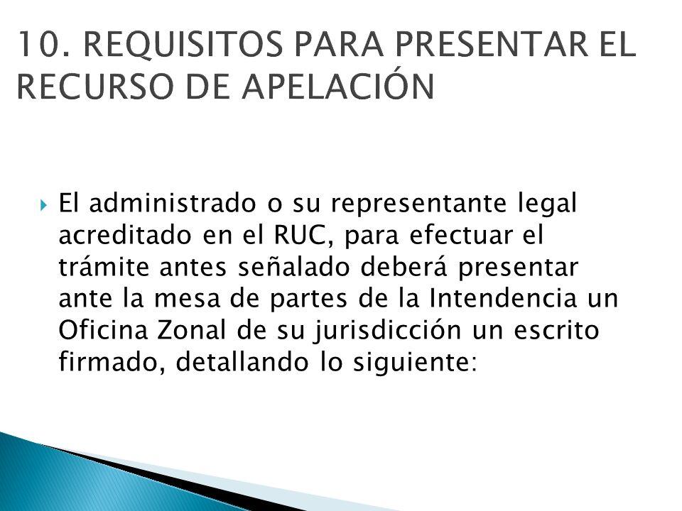 El administrado o su representante legal acreditado en el RUC, para efectuar el trámite antes señalado deberá presentar ante la mesa de partes de la I