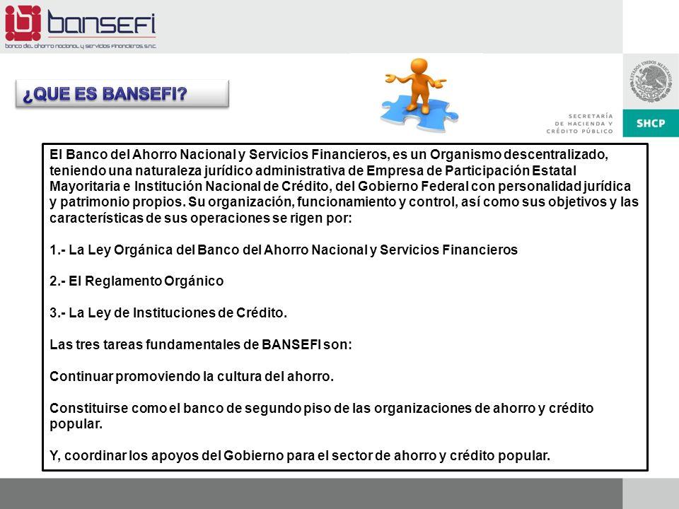 Agosto 2011 El Banco del Ahorro Nacional y Servicios Financieros, es un Organismo descentralizado, teniendo una naturaleza jurídico administrativa de