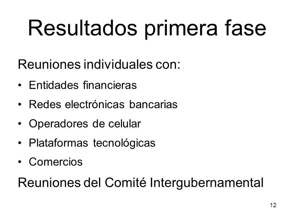 12 Resultados primera fase Reuniones individuales con: Entidades financieras Redes electrónicas bancarias Operadores de celular Plataformas tecnológicas Comercios Reuniones del Comité Intergubernamental