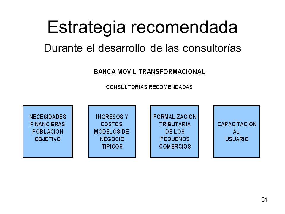 31 Estrategia recomendada Durante el desarrollo de las consultorías
