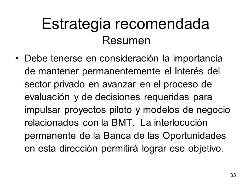 33 Estrategia recomendada Debe tenerse en consideración la importancia de mantener permanentemente el Interés del sector privado en avanzar en el proceso de evaluación y de decisiones requeridas para impulsar proyectos piloto y modelos de negocio relacionados con la BMT.