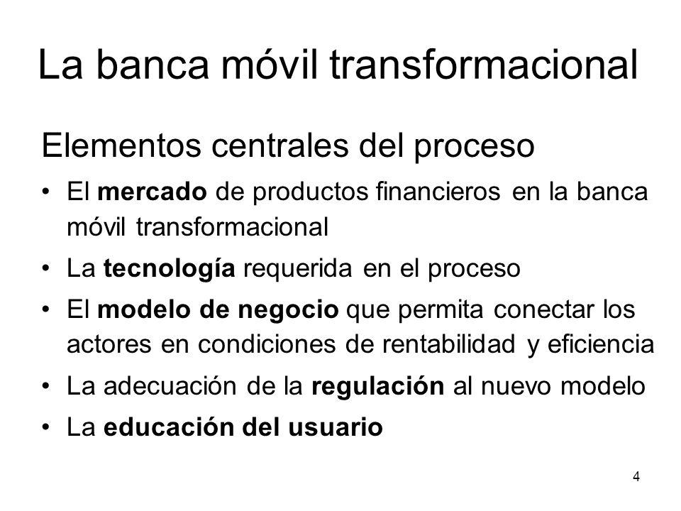 4 La banca móvil transformacional Elementos centrales del proceso El mercado de productos financieros en la banca móvil transformacional La tecnología requerida en el proceso El modelo de negocio que permita conectar los actores en condiciones de rentabilidad y eficiencia La adecuación de la regulación al nuevo modelo La educación del usuario