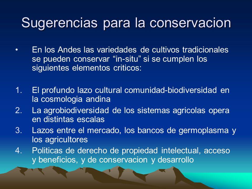 Sugerencias para la conservacion En los Andes las variedades de cultivos tradicionales se pueden conservar in-situ si se cumplen los siguientes elemen
