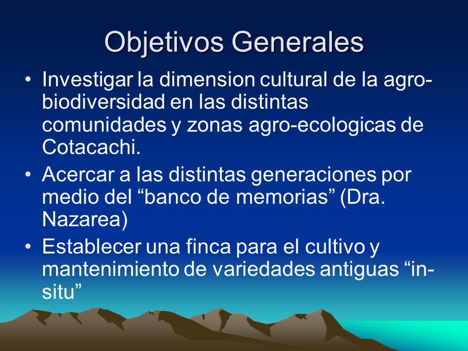 Objetivos Generales Investigar la dimension cultural de la agro- biodiversidad en las distintas comunidades y zonas agro-ecologicas de Cotacachi. Acer