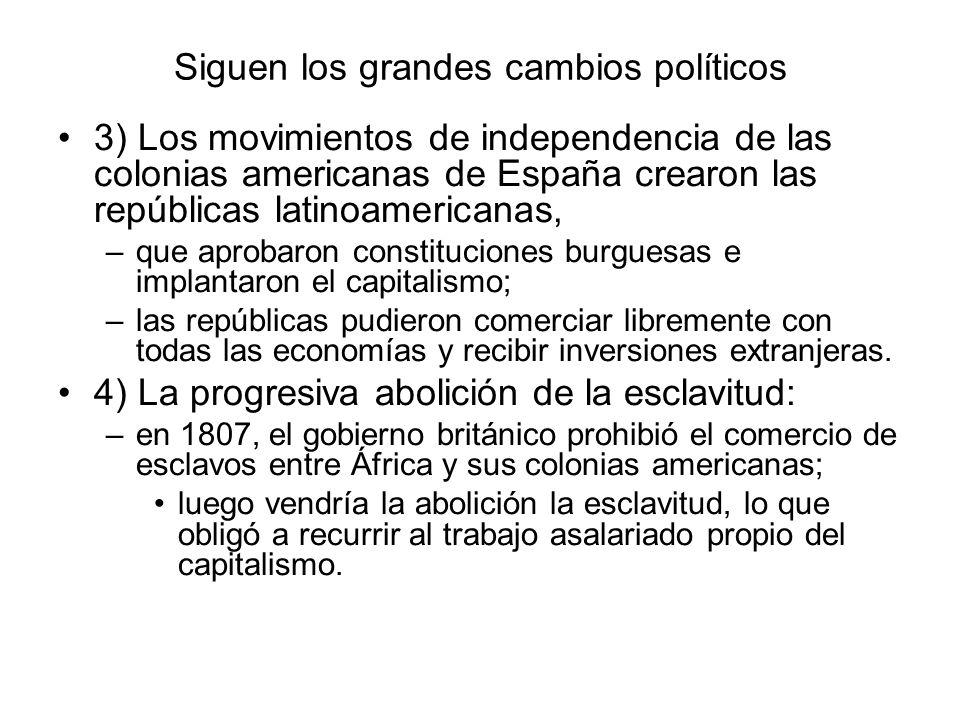 Siguen los grandes cambios políticos 3) Los movimientos de independencia de las colonias americanas de España crearon las repúblicas latinoamericanas,