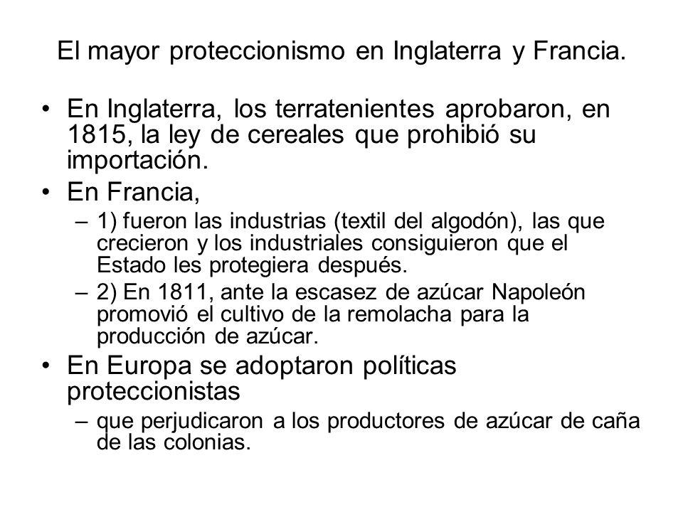 El mayor proteccionismo en Inglaterra y Francia. En Inglaterra, los terratenientes aprobaron, en 1815, la ley de cereales que prohibió su importación.