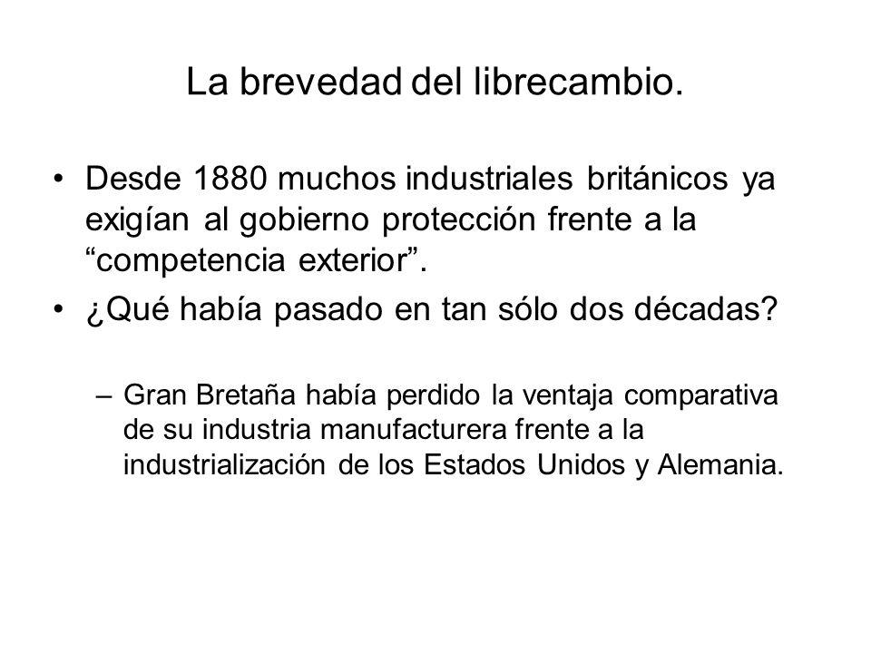 La brevedad del librecambio. Desde 1880 muchos industriales británicos ya exigían al gobierno protección frente a la competencia exterior. ¿Qué había